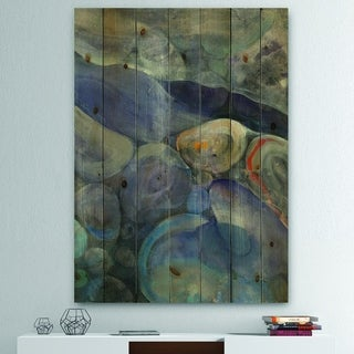Designart 'Into the Indigo Stream II' Abstract Print on Natural Pine Wood - Grey/Blue