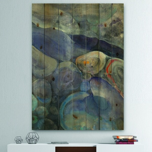 Designart 'Into the Indigo Stream II' Abstract Print on Natural Pine Wood - Grey/Blue