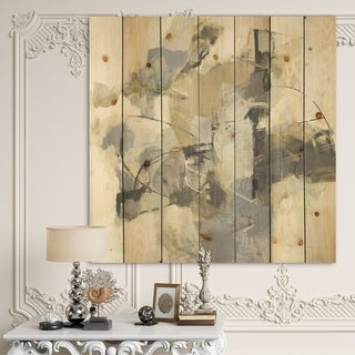 Designart 'Glam Cream Dream III' Modern & Contemporary Print on Natural Pine Wood - Grey