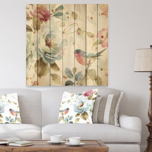 Designart 'Beautiful Bird Romance I' Traditional Print on Natural Pine Wood - Multi-color
