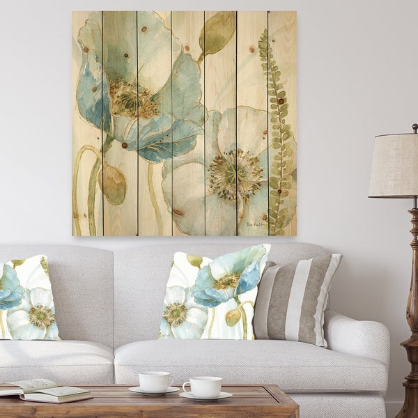 Designart 'My Greenhouse Cottage Flowers III' Traditional Print on Natural Pine Wood - Blue