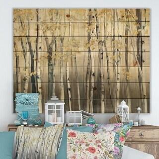 Designart 'Golden Birch Forest I' Landscapes Print on Natural Pine Wood - Grey