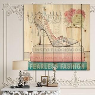 Designart 'Pink Fashion high heels III' Posh & Luxe Print on Natural Pine Wood - Blue/Pink