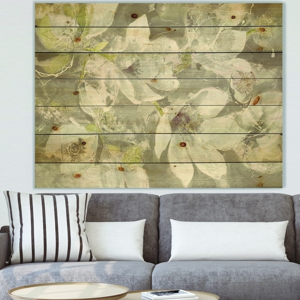 Designart 'Beige And Brown Blossiming Flowers' Farmhouse Print on Natural Pine Wood - White
