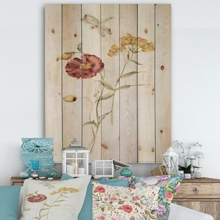 Designart 'Wild Simple Wallflowers III' Farmhouse Print on Natural Pine Wood - Red