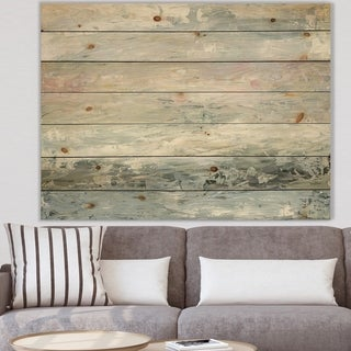 Designart 'Gray Abstract Watercolor II' Contemporary Print on Natural Pine Wood - Grey/Blue