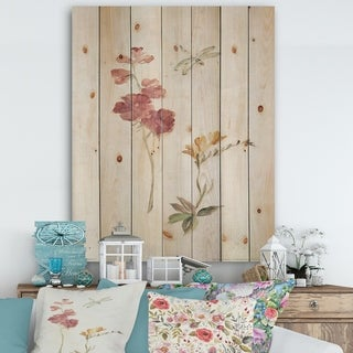 Designart 'Wild Simple Wallflowers II' Farmhouse Print on Natural Pine Wood - Pink