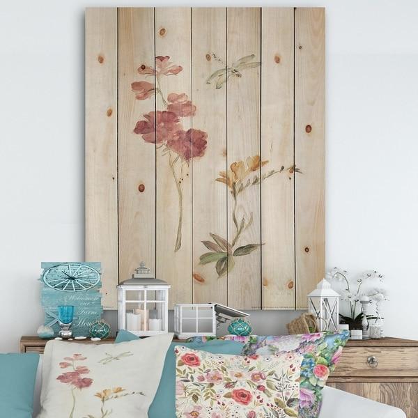 Designart 'Wild Simple Wallflowers II' Farmhouse Print on Natural Pine Wood - Pink