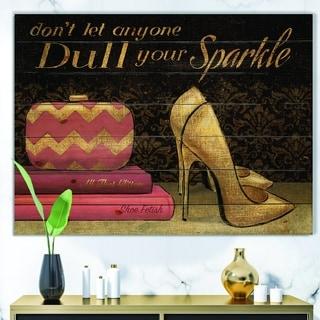 Designart 'Gold Fashions High Heels' Fashion Print on Natural Pine Wood - Black/Pink