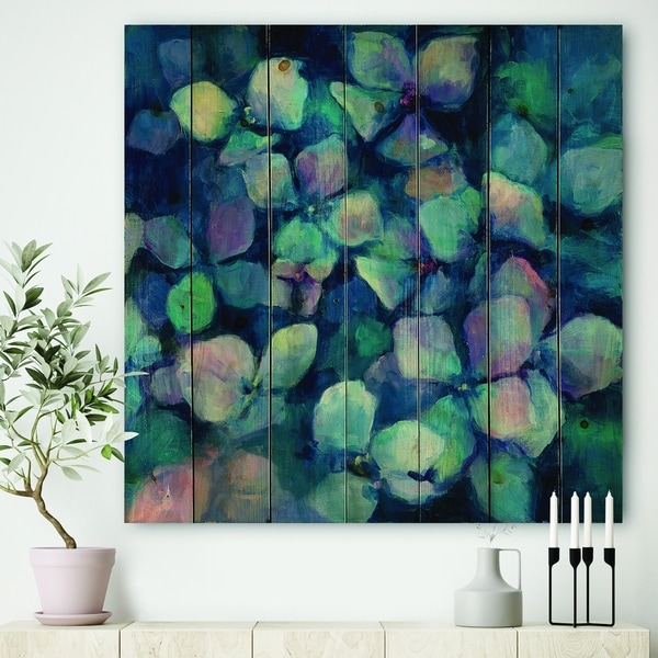Designart 'Abstract Blue Flower Petals' Traditional Print on Natural Pine Wood - Purple