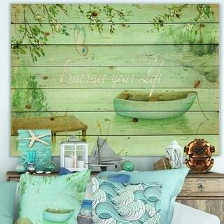 Designart 'Lake House Canoes IV' Lake House Print on Natural Pine Wood - Blue/Green