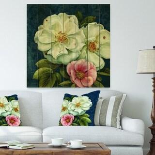 Designart 'Blue Damask Flowers' Farmhouse Print on Natural Pine Wood - Blue/White
