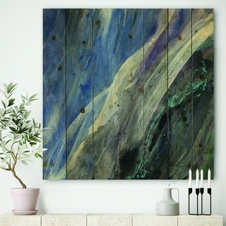 Designart 'Black And Blue Abstract Water Painting' Contemporary Print on Natural Pine Wood - Grey
