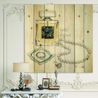 Designart 'Perfume Glam Bathroom I' Traditional Bathroom Print on Natural Pine Wood - Grey