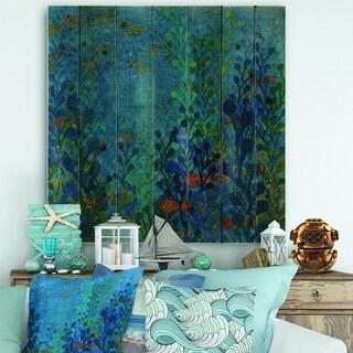 Designart 'Blue Underwater Lake leaves I' Nautical & Coastal Print on Natural Pine Wood - Blue/Green