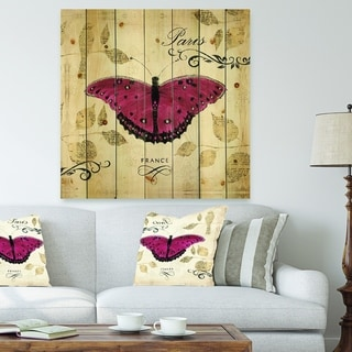 Designart 'Red Farmhouse Butterfly' Farmhouse Print on Natural Pine Wood - Pink