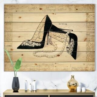 Designart 'Chic Galm Closet I' Fashion Print on Natural Pine Wood - Black