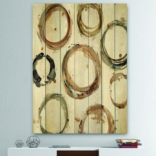 Designart 'Geometric Circle Natural Balance I' Mid-Century Modern Transitional Print on Natural Pine Wood - Multi-color