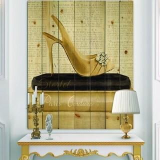 Designart 'Gold Fashion High Hells I' Posh & Luxe Print on Natural Pine Wood - Black