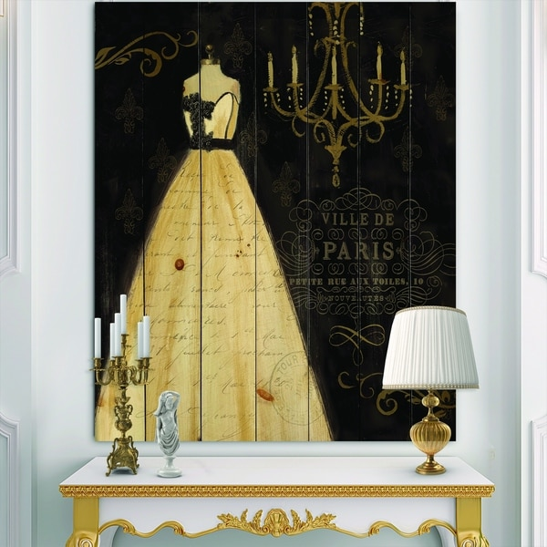 Designart 'French chandeliers Couture III' Fashion Print on Natural Pine Wood - Black