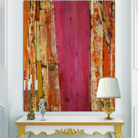 Designart 'Glamorous Composition of Red and Gold' Mid-Century Modern Print on Natural Pine Wood - Pink