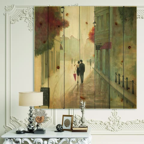 Designart 'Paris Romance Couples II' Romantic French Country Print on Natural Pine Wood - Grey/Red