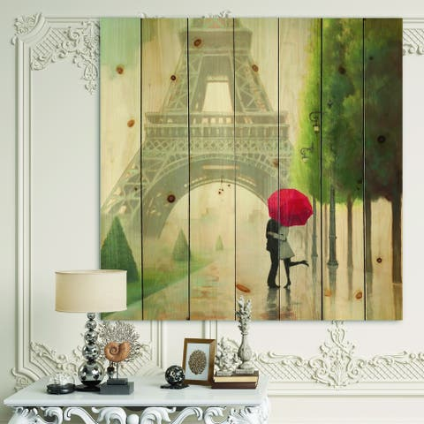 Designart 'Paris Romance Couples III' French Country Print on Natural Pine Wood - Grey/Green