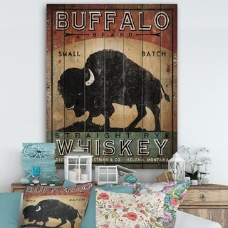 Designart 'Vintage Buffalo Whiskey' Wildlife Print on Natural Pine Wood - Black