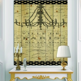 Designart 'French chandeliers Couture I' Fashion Print on Natural Pine Wood - Grey