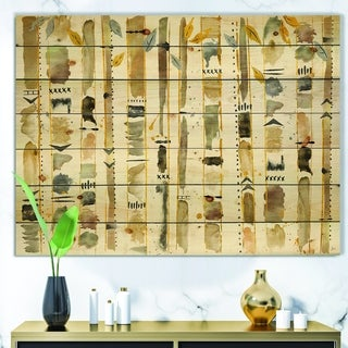 Designart 'Abstract Gold Birch Trees I' Modern & Transitional Print on Natural Pine Wood - Grey
