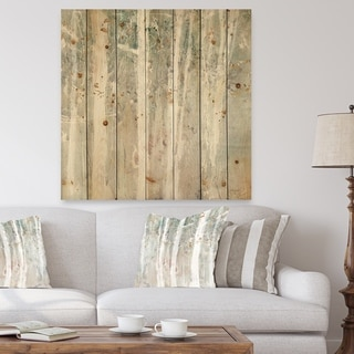Designart 'A Woodland Walk into the Forest V' Modern Farmhouse Print on Natural Pine Wood - Grey