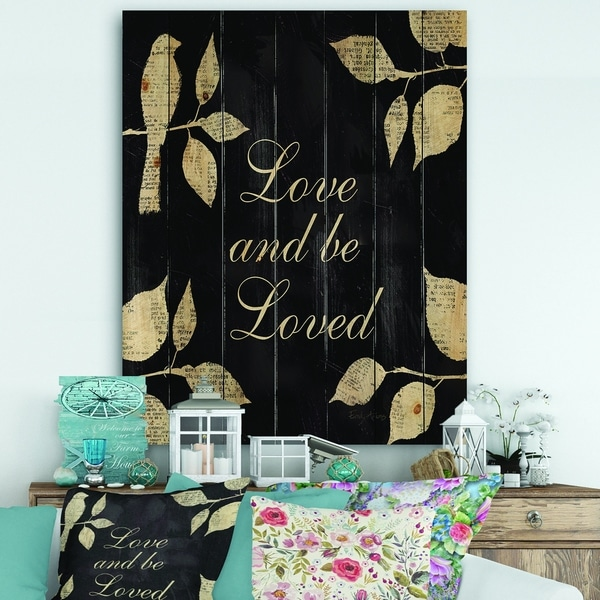 Designart 'Love and Be Loved Cottage Collage' Lake House Print on Natural Pine Wood - Black