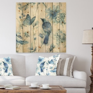 Designart 'Indigold Bird Cottage Family I' Farmhouse Print on Natural Pine Wood - Blue