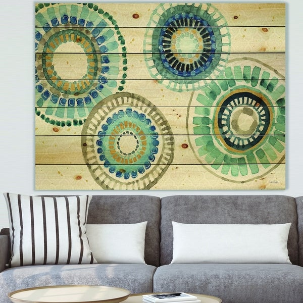 Designart 'Modern Gold Timetable II' Mid-Century Modern Print on Natural Pine Wood - Blue
