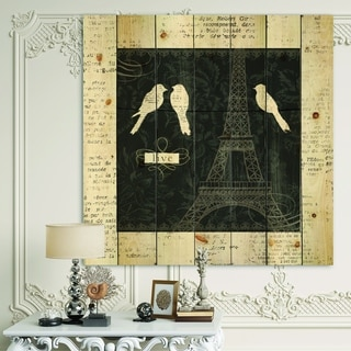 Designart 'Paris Vintage Collage II' French Country Print on Natural Pine Wood - Black