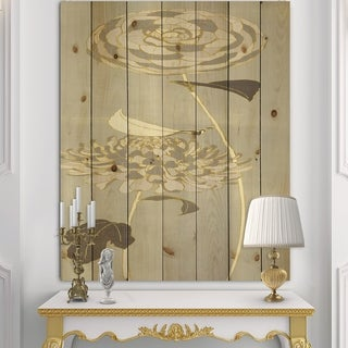 Designart 'Gold Metallic Floral Garden III' Modern Glam Print on Natural Pine Wood - Grey