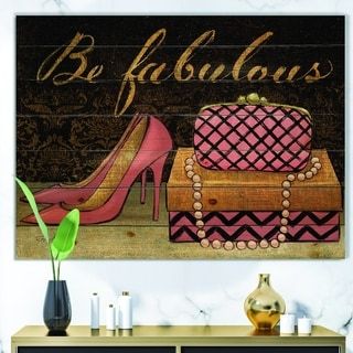 Designart 'Gold Fabulous Life Style III' Fashion Print on Natural Pine Wood - Pink
