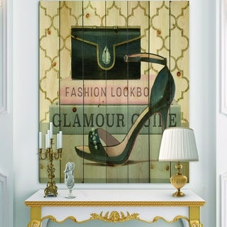 Designart 'Glam fashion High Heels VI' Posh & Luxe Print on Natural Pine Wood - Black