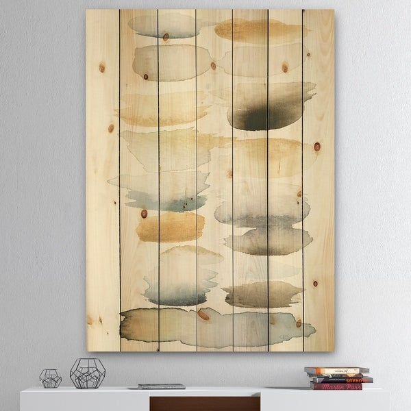 Designart 'Watercolor Geometric Swatch Element V' Mid-Century Modern Transitional Print on Natural Pine Wood - Brown