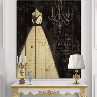 Designart 'French Couture I' Fashion Print on Natural Pine Wood - Black/White