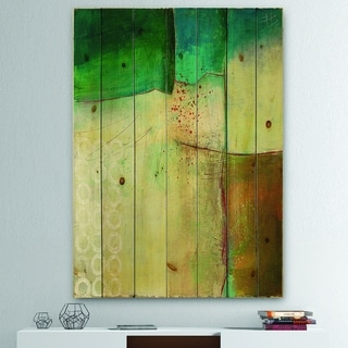 Designart 'Abstract Impression of Watercolour Blue and Yellow' Traditional Print on Natural Pine Wood - Green