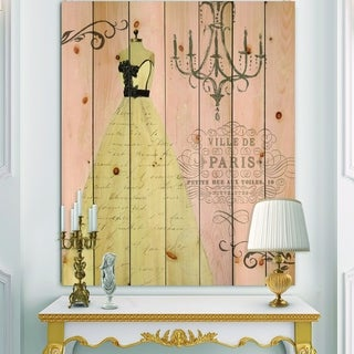 Designart 'French chandeliers Couture II' Fashion Print on Natural Pine Wood - Pink