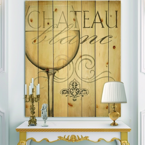 Designart 'French Chateau White Wine II' Food and Beverage Print on Natural Pine Wood - Grey