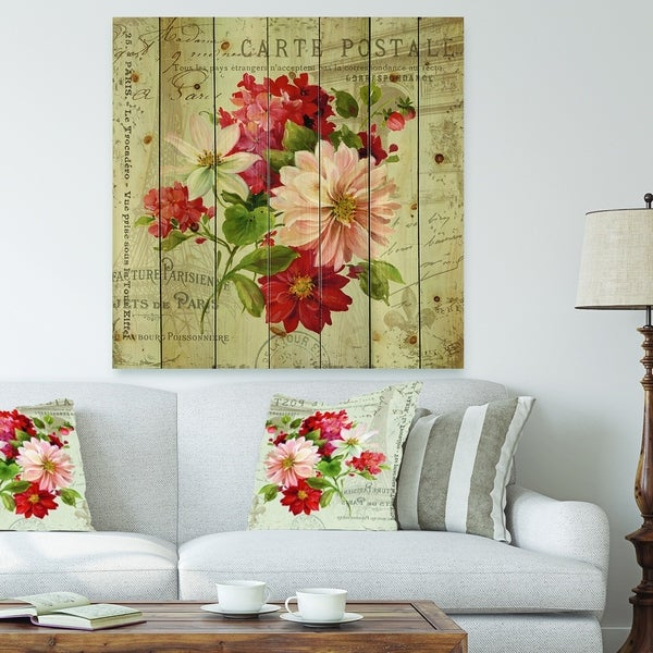Designart 'Red Painted Flowers on Vintage Postcard II' Farmhouse Print on Natural Pine Wood - Pink/Red