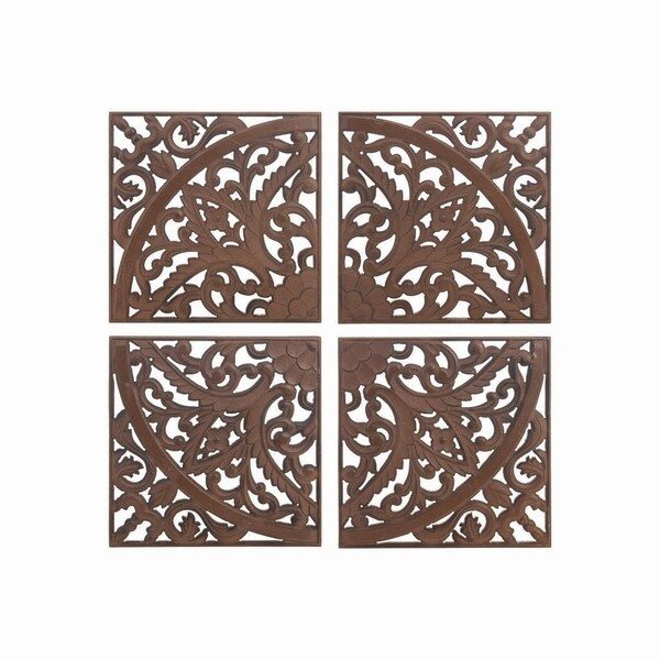 Carved Wood Wall Tiles, Set of 4