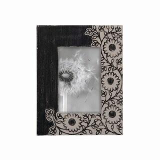 4X6 Dark Floral Carved Photo Frame