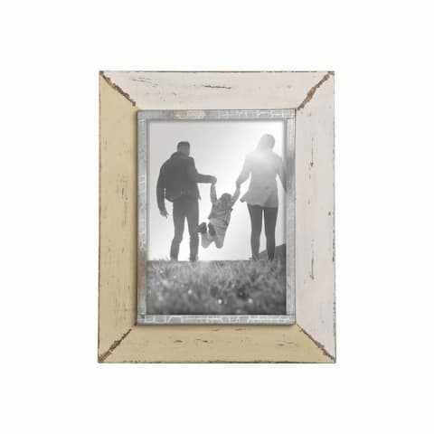Foreside Home & Garden Yellow and Cream Distressed Wood 5 x 7 inch Decorative Wood Picture Frame