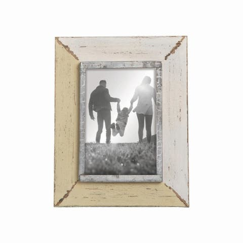 Foreside Home & Garden Yellow and Cream Distressed Wood 4 x 6 inch Decorative Wood Picture Frame