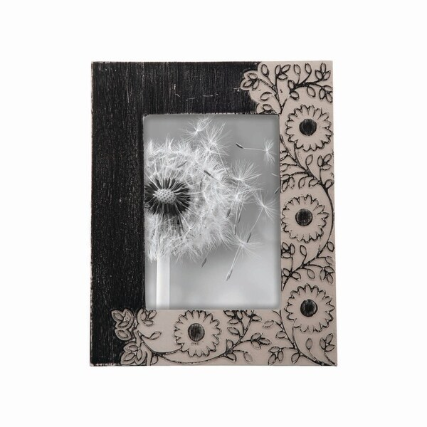 5X7 Dark Floral Carved Photo Frame
