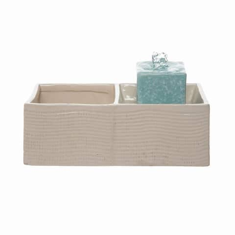 Foreside Home & Garden Cream Square Indoor Water Fountain With Pump and Planter - 5x10x5.25